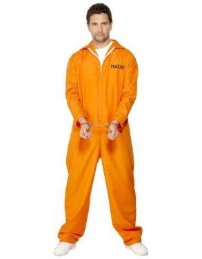 Mens Escaped Prisoner Convict Costume - Orange - M & L